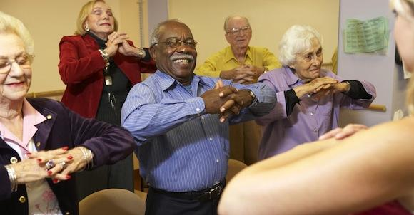 Elderly group engaged in physical activity
